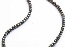 Naszyjnik, perły zielone hodowane, słodkowodne okrągłe 5-5.5mm, zapięcie srebrne