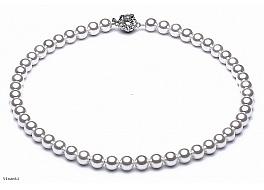 Naszyjnik, perły białe shell okrągłe 8mm, zapinka posrebrzana