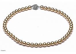 Naszyjnik, perły shell o kolorze złotym okrągłe 8mm, zapinka posrebrzana