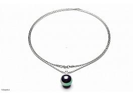 Naszyjnik z perłą shell wielkości 20mm w kolorze grafitowym