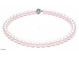 Naszyjnik, perły różowe shell okrągłe 10mm, zapięcie posrebrzane