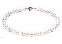 Naszyjnik, perły białe shell okrągłe 10mm, zapięcie posrebrzane
