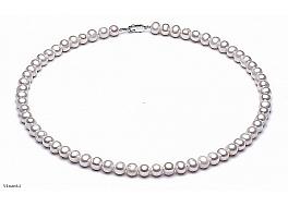 Naszyjnik, perły białe hodowane, słodkowodne okrągłe 6-6,5mm, zapięcie srebrne