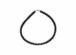Naszyjnik, perły czarne hodowane, słodkowodne okrągłe 6-6,5mm, zapięcie srebrne