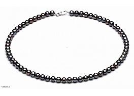 Naszyjnik, perły grafitowe hodowane, słodkowodne okrągłe 6-6.5mm, zapięcie srebrne