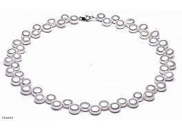 Naszyjnik, perły białe hodowane, słodkowodne około 6-7 mm, zapięcie srebrne