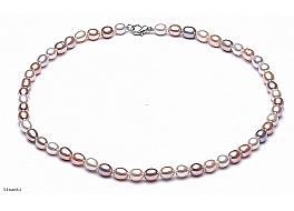 Naszyjnik, perły białe i łososiowe hodowane, słodkowodne 7-7,5mm, zapięcie posrebrzane