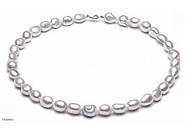 Naszyjnik, perły białe hodowane, słodkowodne barok 10-11mm, zapięcie srebrne
