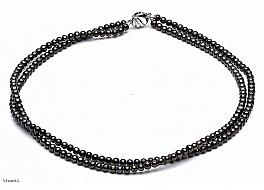 Naszyjnik podwójny, perły grafitowe hodowane, słodkowodne okrągłe 4-4,5mm, zapięcie srebrne rodowane