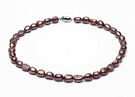 Naszyjnik, perły brązowe hodowane, słodkowodne barok 10-11mm, zapięcie srebrne rodowane