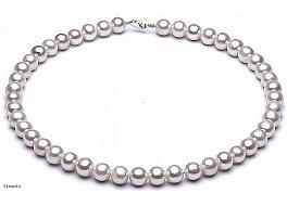 Naszyjnik, perły białe hodowane, słodkowodne okrągłe 7-7.5mm, zapięcie srebrne