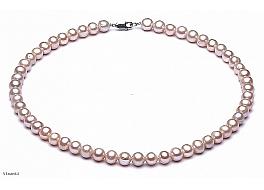 Naszyjnik, perły łososiowe hodowane, słodkowodne okrągłe 7-7.5mm, zapięcie srebrne