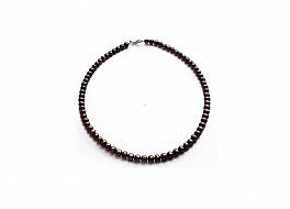 Naszyjnik, perły brązowe hodowane, słodkowodne okrągłe 6-6.5mm, zapięcie srebrne