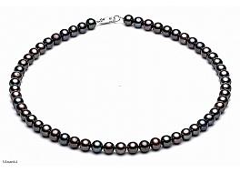 Naszyjnik, perły grafitowe hodowane, słodkowodne okrągłe 7-7.5mm, zapięcie srebrne