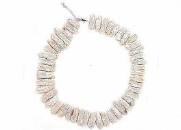 Naszyjnik, perły łososiowe hodowane, słodkowodne 15-20mm, zapięcie srebrne