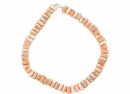 Naszyjnik, perły łososiowe hodowane, słodkowodne 10mm, zapięcie srebrne