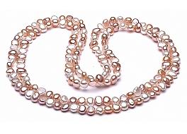 """Naszyjnik typu """"opera"""", perły białe i łososiowwe hodowane, słodkowodne barok 6-6,5mm"""