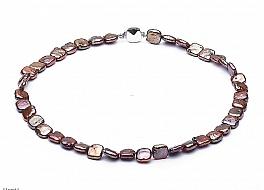 Naszyjnik, perły brązowe hodowane, słodkowodne kwadratowe 9-10mm, zapięcie srebrne rodowane