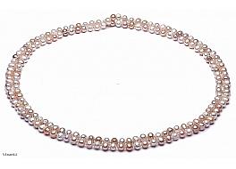 """Naszyjnik typu """"opera"""", perły białe i łososiowe hodowane, słodkowodne okrągłe 7-7,5mm"""