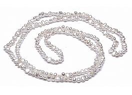 """Naszyjnik typu """"opera"""", perły białe hodowane, słodkowodne barok 6-6,5mm"""