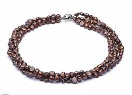 Naszyjnik potrójny, perły brązowe hodowane, słodkowodne nieregularne 6.5-7mm, zapięcie srebrne rodowane