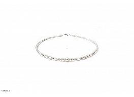 Naszyjnik, perły białe hodowane, słodkowodne okrągłe 3-7mm, zapięcie srebrne.