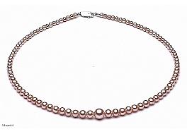 Naszyjnik, perły łososiowe hodowane, słodkowodne okrągłe 3-7mm, zapięcie srebrne.