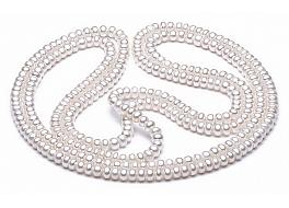 """Naszyjnik typu """"opera"""", perły białe hodowane, słodkowodne 6-6,5mm"""