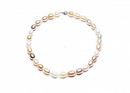 Naszyjnik, perły biało-łososiowe hodowane, słodkowodne 10-11mm, zapięcie srebrne