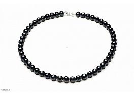 Naszyjnik, perły czarne hodowane, słodkowodne okrągłe 8-8.5mm, zapięcie srebrne