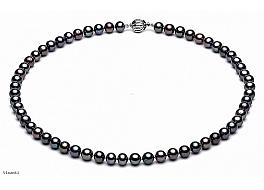 Naszyjnik, perły grafitowe hodowane, słodkowodne okrągłe 6-6.5mm, zapięcie srebrne rodowane