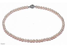 Naszyjnik, perły łososiowe hodowane, słodkowodne okrągłe 6-6.5mm, zapięcie srebrne rodowane