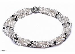 Naszyjnik zwijaniec, biało - grafitowy, perły hodowane, słodkowodne barok 4-4.5mm, zapięcie srebrne