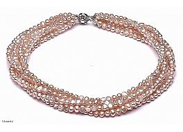Naszyjnik zwijaniec, łososiowy, perły hodowane, słodkowodne barok 4-4.5mm, zapięcie srebrne