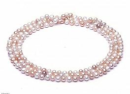 """Naszyjnik typu """"opera"""", perły biało-łososiowe hodowane, słodkowodne okrągłe 8-8.5mm"""