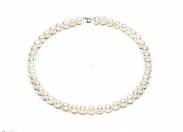 Naszyjnik, perły białe hodowane, słodkowodne owalne 10-10,5mm
