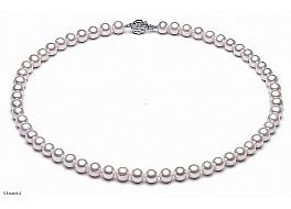 Naszyjnik, perły białe hodowane, słodkowodne okrągłe 7-7.5mm, zapięcie srebrne rodowane