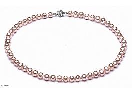 Naszyjnik, perły łososiowe hodowane, słodkowodne okrągłe 7-7.5mm, zapięcie srebrne rodowane