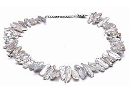 Naszyjnik, perły biało-łososiowe hodowane, słodkowodne okrągłe 6.5-7mm, zapięcie srebrne rodowane