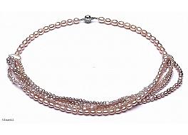 Naszyjnik z łososiowych pereł różnego kształtu, zapięcie srebrne rodowane