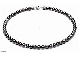 Naszyjnik, perły hodowane, słodkowodne okrągłe grafitowe, wielkości 7-7.5mm, zapięcie srebrne rodowane