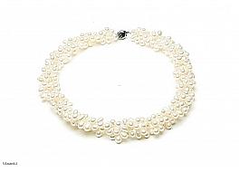 Naszyjnik z pereł białych hodowanych, słodkowodnych 5,5-6mm, zapięcie srebrne rodowane