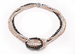 """Naszyjnik """"zwijaniec"""" z pereł naturalnych hodowanych, słodkowodnych w trzech kolorach,wielkości 6-6,5mm, nieregularnych"""