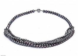 Naszyjnik z grafitowych pereł, zapięcie srebrne rodowane