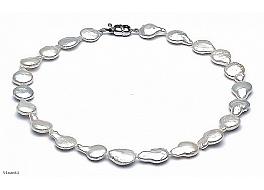 Naszyjnik, perły białe hodowane, słodkowodne nieregularne 15-20mm, zapięcie srebrne rodowane