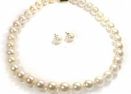 Komplet naszyjnik z pereł Oceanicznych SOUTH SEA + kolczyki, perły białe australijskie okrągłe 11-13.5mm, złoto, brylanty
