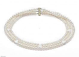 Naszyjnik potrójny perły białe hodowane, słodkowodne okrągłe 6-6.5mm łączony z perłami, zapięcie srebrne pozłacane