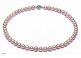 Naszyjnik, perły łososiowe hodowane, słodkowodne okrągłe 8-8.5mm, zapięcie srebrne rodowane