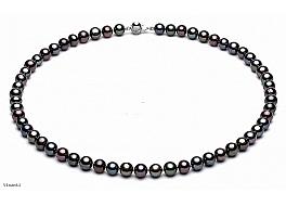 Naszyjnik, perły czarne hodowane, słodkowodne okrągłe 8-8.5mm, zapięcie srebrne rodowane