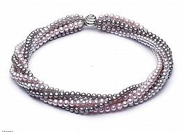 Naszyjnik zwijaniec, perły hodowane, słodkowodne kolorowe okrągłe 6mm, zapięcie srebrne